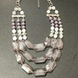 Smokey Grey 3 strand necklace